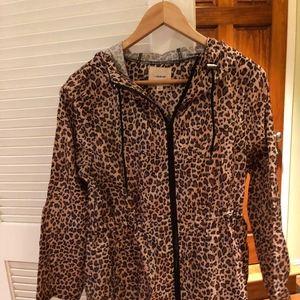 Jackets & Blazers - Leopard Print Zip Up Jacket w Hood